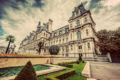 Hotel de Ville in Paris, France. City hall building. Vintage. Hotel de Ville in Paris, France. City hall building, a popular landmark. Vintage, retro Royalty Free Stock Image