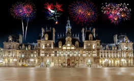 The Hotel de Ville in Paris, France with fireworks. Stock Photos