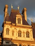 Hotel de Ville, Paris France. Here reflecting the evening sun, Hotel de Ville houses the local government administration in Paris Stock Photography