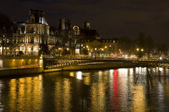 Hotel de Ville and Seine river Stock Photos