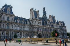 Hotel de Ville town hall of Paris France street view royalty free stock images