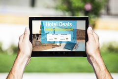 Hotel deals website on tablet. Stock Image