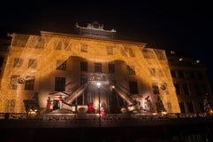 Hotel decorato per il Natale a Copenhaghen Fotografia Stock