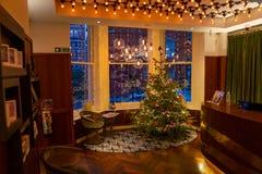 Hotel del añil, Londres, Reino Unido 31 de diciembre de 2017 Interior mágico Ch Fotografía de archivo