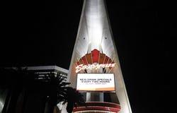 Hotel del casino de la estratosfera en la noche foto de archivo libre de regalías