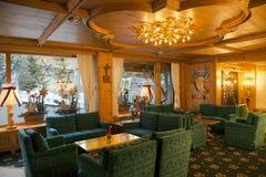 Hotel del centro turístico y del balneario de Ferienart en Saas-tarifa Imágenes de archivo libres de regalías