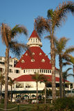 Hotel Del Coronado Dome au coucher du soleil Photos stock