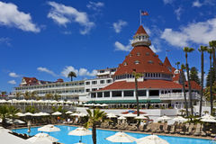 Hotel del Coronado with pool. Pool and sun decks at the historic Hotel del Coronado near San Diego, California Royalty Free Stock Images