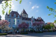 Hotel del ` Ouchy, lujoso del castillo francés d y neogótico Imagen de archivo