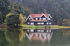 Hotel del pueblo entre árboles imágenes de archivo libres de regalías