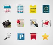 Hotel del vector e iconos que viajan Foto de archivo libre de regalías