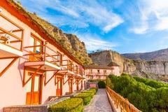 Hotel dell'alta società e cortile d'invito in canyon di Colca, Perù nel Sudamerica Fotografia Stock Libera da Diritti