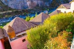 Hotel dell'alta società e cortile d'invito in canyon di Colca, Perù nel Sudamerica Fotografie Stock