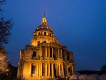 Hotel des Invalides at night, Paris Royalty Free Stock Image