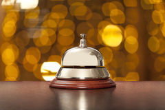 hotel, desk, bell, counter, hospitality, travel, business, reception, tone, pen, shines, old, foreground, visit, time, reflection royalty free stock photo