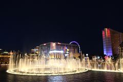 Hotel di Las Vegas Bellagio di notte Fotografie Stock Libere da Diritti