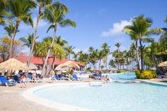 Hotel di località di soggiorno di principessa di Punta Cana Bavaro con lo stagno Fotografie Stock Libere da Diritti