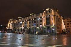 Hotel di Matropol a Mosca di notte Immagini Stock