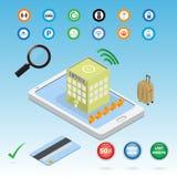 Hotel di prenotazione sull'applicazione dello Smart Phone Immagine Stock