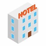 Hotel die isometrisch 3d pictogram bouwen Stock Afbeeldingen