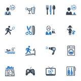 Hotel-Dienstleistungen und Anlagen-Ikonen, stellten 2 - Blau ein  Lizenzfreie Stockfotografie