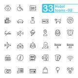 Hotel-Dienstleistungen und Reise-Entwurfs-Ikonen Stockbild