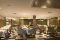 Hotel Dining Room. The interior of a hotel dining room Stock Image