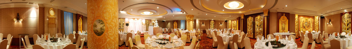 Hotel dining room panorama royalty free stock images