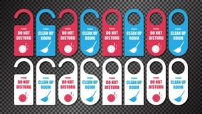 Hotel Door Hanger Tags, Please Do Not Disturb vector illustration
