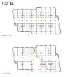 Hotel drawing plan. CAD blueprint royalty free illustration