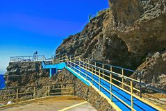Hotel driveway by the ocean. Ramp for disabled in hotel by the ocean Royalty Free Stock Photography