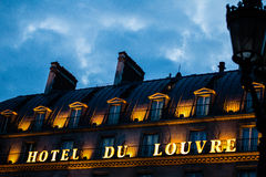 Hotel du Louvre en París, Francia Imagenes de archivo