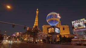 Hotel e casinò di stupore di Parigi alla striscia di Las Vegas - U.S.A. 2017 archivi video