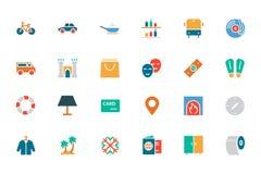 Hotel e iconos coloreados restaurante 5 del vector Imágenes de archivo libres de regalías