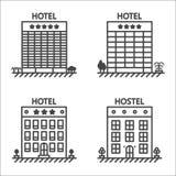 Hotel e linea insieme dell'ostello dell'icona di vettore Fotografia Stock