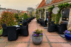 Hotel in Edam. Hotel with restaurant terrace in a small city Edam in Netherlands. Edam is a small village in the district Nordholland, Netherlands royalty free stock images
