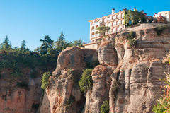 Hotel on edge of a cliff in Ronda, Malaga Province, Andalusia, S Stock Images