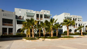 Hotel in El gouna with palms Royalty Free Stock Photo