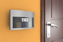 Hotel elektronischer Doorplate-Noten-Türklingel-Schalter mit Raum Numbe lizenzfreie stockbilder