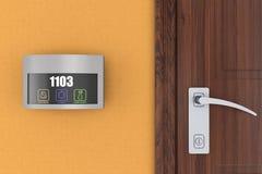 Hotel elektronischer Doorplate-Noten-Türklingel-Schalter mit Raum Numbe stockbilder