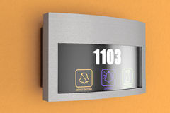 Hotel elektronischer Doorplate-Noten-Türklingel-Schalter mit Raum Numbe stockfotografie