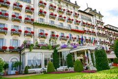 Hotel em Stresa no lago Maggiore, Itália foto de stock royalty free