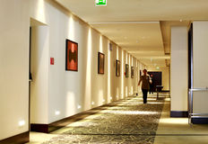Hotel employee. Walking on the corridor of a luxury hotel (Radisson Blu) in Bucharest, Romania Royalty Free Stock Photos