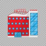 Hotel en estilo plano en el ejemplo transparente del vector del fondo El hogar del día de fiesta de la arquitectura del edificio Fotografía de archivo