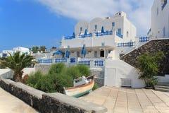 Hotel en la isla de Santorini Fotografía de archivo