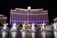 Hotel en la noche, Las Vegas de Bellagio Imagenes de archivo