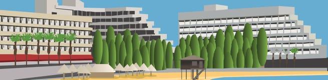 Hotel en la playa libre illustration