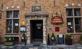 Hotel en restaurant in Brugge, België royalty-vrije stock fotografie