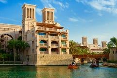 Hotel en toeristendistrict van Madinat Jumeirah Royalty-vrije Stock Fotografie