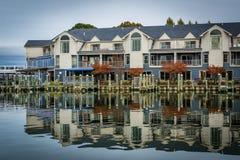 Hotel entlang Miles River, in St. Michaels, Maryland lizenzfreie stockfotografie